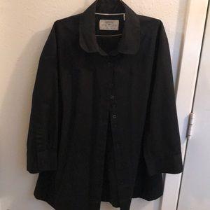 Black dress button up 3/4 sleeve — light weight